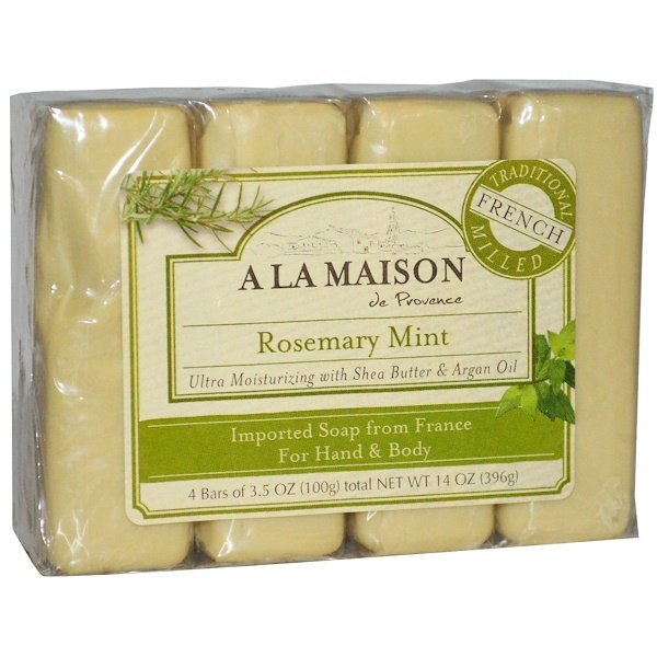 A La Maison de Provence, Hand & Body Bar Soap, Rosemary Mint, 4 Bars, 3.5 oz (100 g) Each
