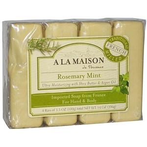 A La Maison de Provence, Мыло для рук и тела, с ароматом розмарина и мяты, 4 куска, 3.5 унций (100 г) каждый купить на iHerb