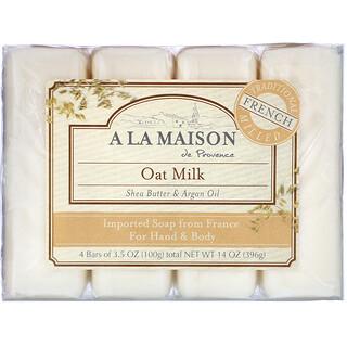 A La Maison de Provence, Barra de jabón para manos y cuerpo, leche de avena, 4 barras, 3,5 oz (100 g) cada una