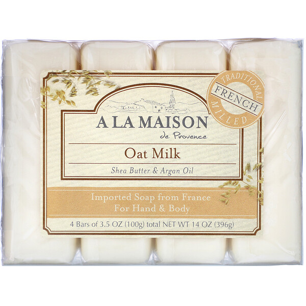 Hand & Body Bar Soap, Oat Milk, 4 Bars, 3.5 oz (100 g) Each