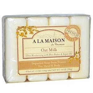 A La Maison de Provence, Мыло для рук и тела, с ароматом овсяного молочка, 4 куска, 3.5 унций (100 г) каждый купить на iHerb