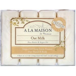 А Ла Мэзон Дэ Прованс, Hand & Body Bar Soap, Oat Milk, 4 Bars, 3.5 oz (100 g) Each отзывы покупателей