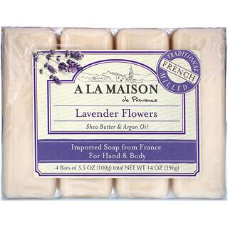 A La Maison de Provence, Hand & Body Bar Soap, Lavender Flowers, 4 Bars, 3.5 oz (100 g) Each