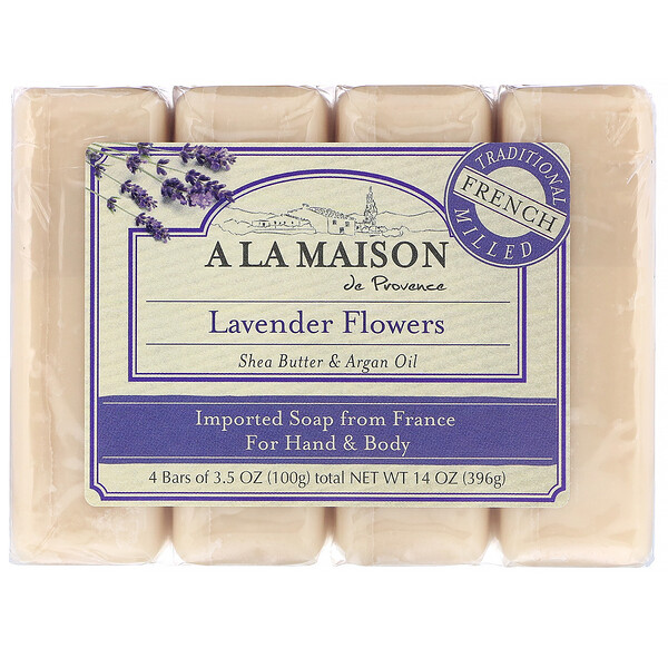 A La Maison de Provence, Hand & Body Bar Soap, Lavender Flowers, 4 Bars, 3.5 oz (100 g) Each