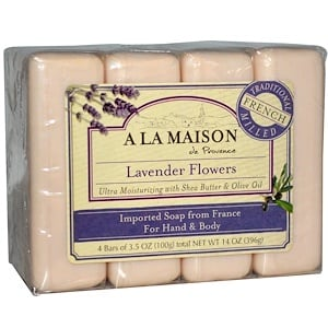 A La Maison de Provence, Мыло для рук и тела, с ароматом лаванды, 4 куска, 3.5 унций (100 г) каждый купить на iHerb