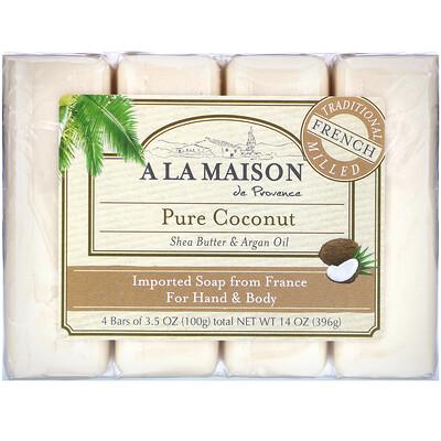 Мыло для рук & тела, Чистый кокос, 4 бруска по 3.5 унции