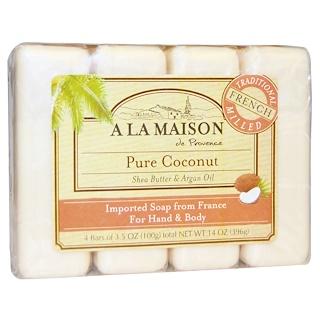 A La Maison de Provence, 핸드 & 바디 바 비누, 순수 코코넛, 4개입, 각 3.5 온스
