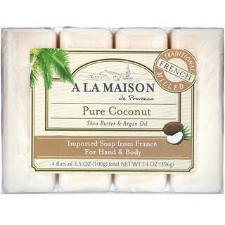 A La Maison de Provence, Jabón en barra para manos y cuerpo, Coco puro, 4 barras, 3,5 oz cada una