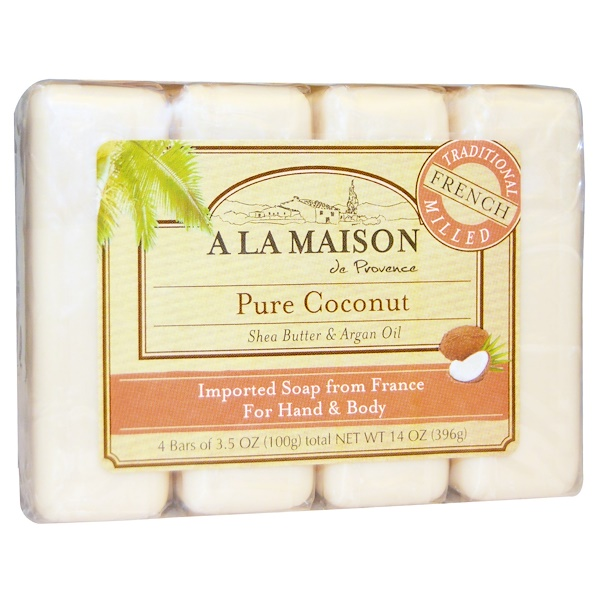 A La Maison de Provence, Hand & Body Bar Soap, Pure Coconut, 4 Bars, 3.5 oz Each