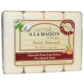 A La Maison de Provence, Hand & Body Bar Soap, Sweet Almond, 4 Bars, 3.5 oz Each