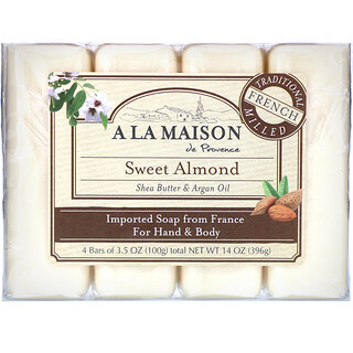 A La Maison de Provence, Hand & Body Bar Soap, Sweet Almond, 4 Bars, 3.5 oz Each