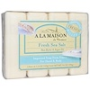 A La Maison de Provence, Hand & Body Bar Soap, Fresh Sea Salt, 4 Bars, 3.5 oz Each