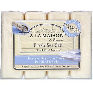 A La Maison de Provence, Hand & Body Bar Soap, Fresh Sea Salt, 4 Bars, 3.5 oz Each