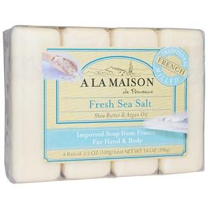 A La Maison de Provence, Мыло для рук & тела, Свежая морская соль, 4 бруска по 3.5 унции купить на iHerb