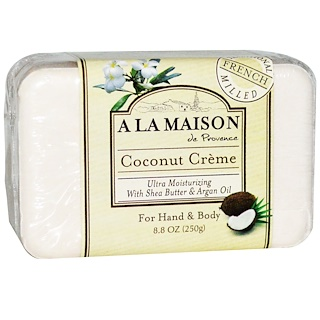 A La Maison de Provence, Hand & Body Bar Soap, Coconut Cream, 8.8 oz (250 g)