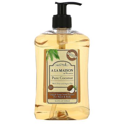 Купить A La Maison de Provence Жидкое мыло для рук и тела, чистый кокос, 16, 9 жидких унций (500 мл)