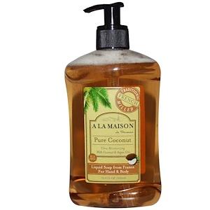 A La Maison de Provence, Жидкое мыло для рук и тела, чистый кокос, 16,9 жидких унций (500 мл) купить на iHerb