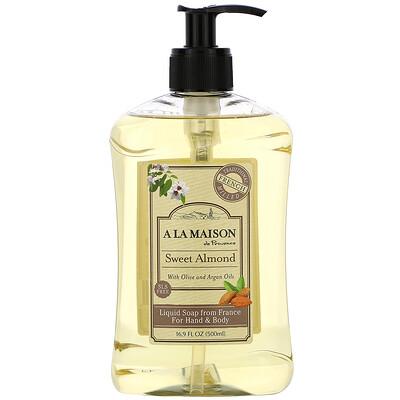 Купить A La Maison de Provence Жидкое мыло для рук и тела, Сладкий миндаль, 16, 9 унции (500 мл)