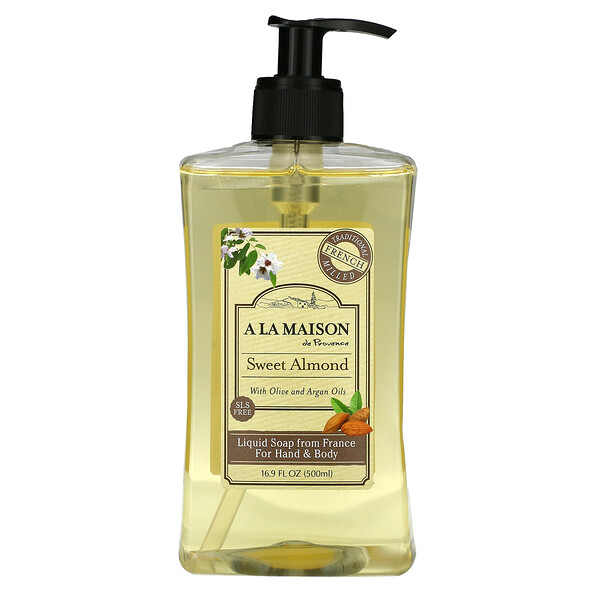 Liquid Soap For Hand & Body, Sweet Almond, 16.9 fl oz (500 ml)