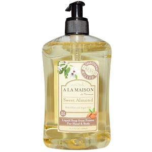 A La Maison de Provence, Hand and Body Liquid Soap, Sweet Almond, 16.9 fl oz (500 ml)