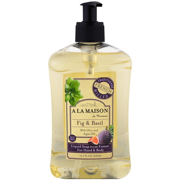 Hand and Body Liquid Soap, Fig and Basil, 16.9 fl oz (500 ml)