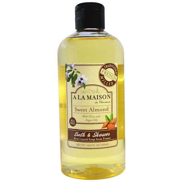A La Maison de Provence, Bath & Shower Liquid Soap, Sweet Almond, 16.9 fl oz (500 ml) (Discontinued Item)