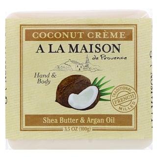 A La Maison de Provence, لوح صابون صابون اليد والجسم، كريم جوز الهند، 3.5 أوقية (100 غرام)