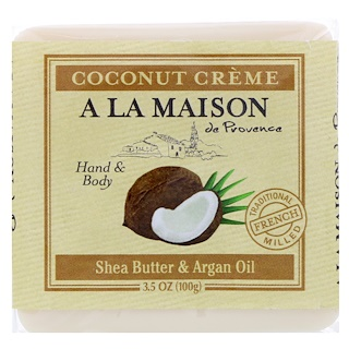 A La Maison de Provence, Hand & Body Bar Soap, Coconut Cream, 3.5 oz (100 g)