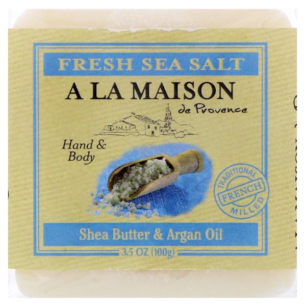 A La Maison de Provence, لوح صابون صابون اليد والجسم، ملح البحر المنعش، 3.5 أوقية (100 جم) (Discontinued Item)