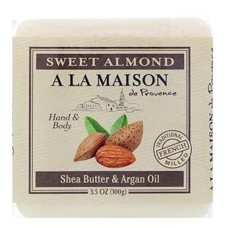 A La Maison de Provence, Jabón en barra para manos y cuerpo, Almendra dulce, 3,5 oz (100 g)