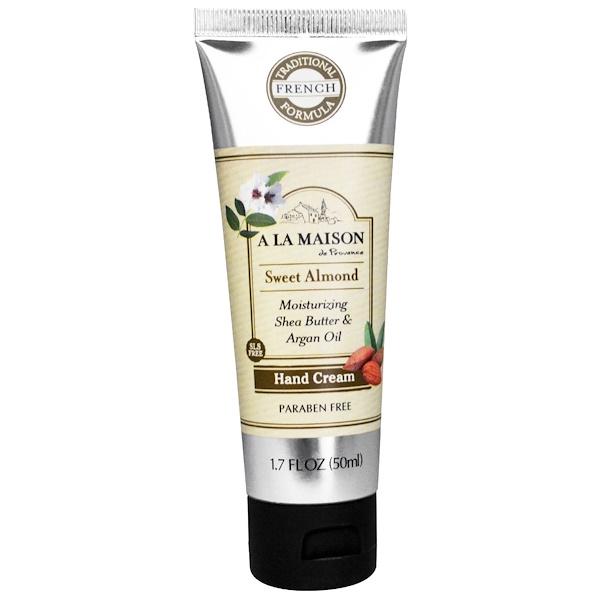 A La Maison de Provence, Hand Cream, Sweet Almond, 1.7 fl oz (50 ml) (Discontinued Item)