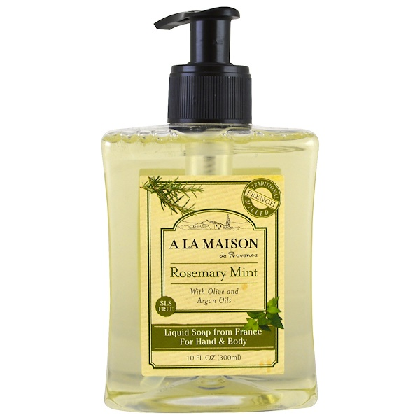A La Maison de Provence, Liquid Soap For Hand & Body, Rosemary Mint, 10 fl oz (300 ml) (Discontinued Item)
