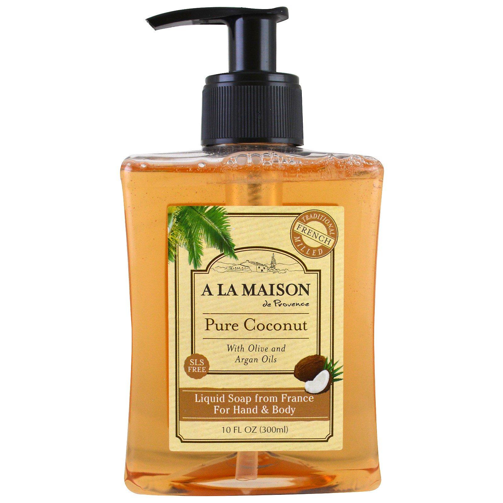 A La Maison de Provence, Жидкое мыло для рук и тела, чистый кокос, 10 мл (300 мл)