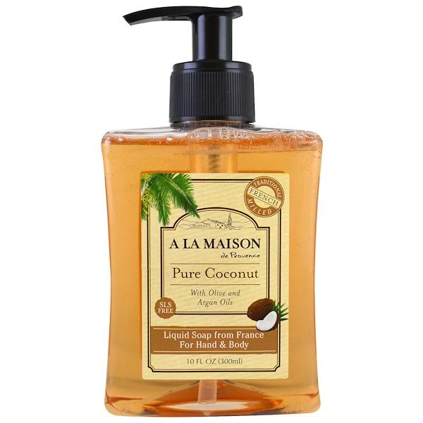 A La Maison de Provence, Liquid Soap For Hand & Body, Pure Coconut, 10 fl oz (300 ml) (Discontinued Item)