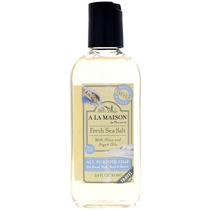 А Ла Мэзон Дэ Прованс, All Purpose Soap For Hand, Body, Bath & Shower, Fresh Sea Salt, 3.4 fl oz (100 ml) отзывы