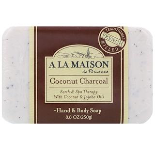 A La Maison de Provence, Barra de jabón para manos y cuerpo, coco y carbón, 8.8 oz (250 g)