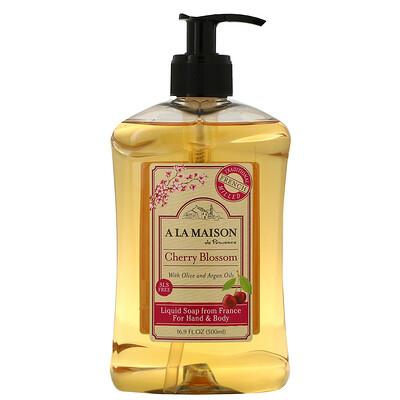 Купить A La Maison de Provence Жидкое мыло для рук и тела, вишня в цвету, 16, 9 ж. унц. (500 мл)