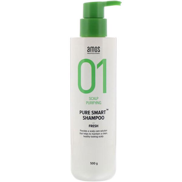 Amos, Champú PureSmart, 01purificador del cuero cabelludo, Frescura, 500g