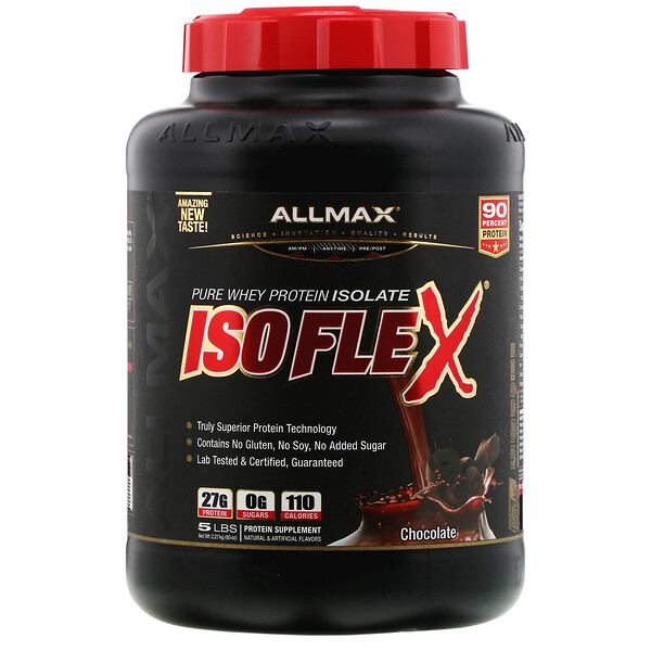 Isoflex, Pure Whey Protein Isolate (WPI Ion-Charged Particle Filtration), Chocolate, 5 lbs (2.27 kg)