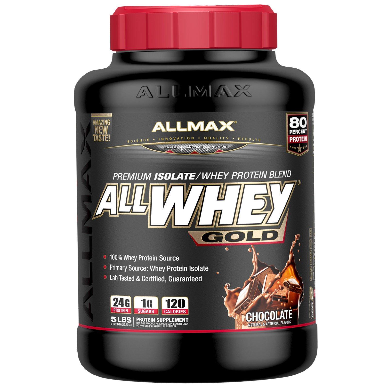 ALLMAX Nutrition, AllWhey Gold, премиум-смесь из изолята/сывороточного протеина, шоколад, 2,27 кг (5 фунтов)