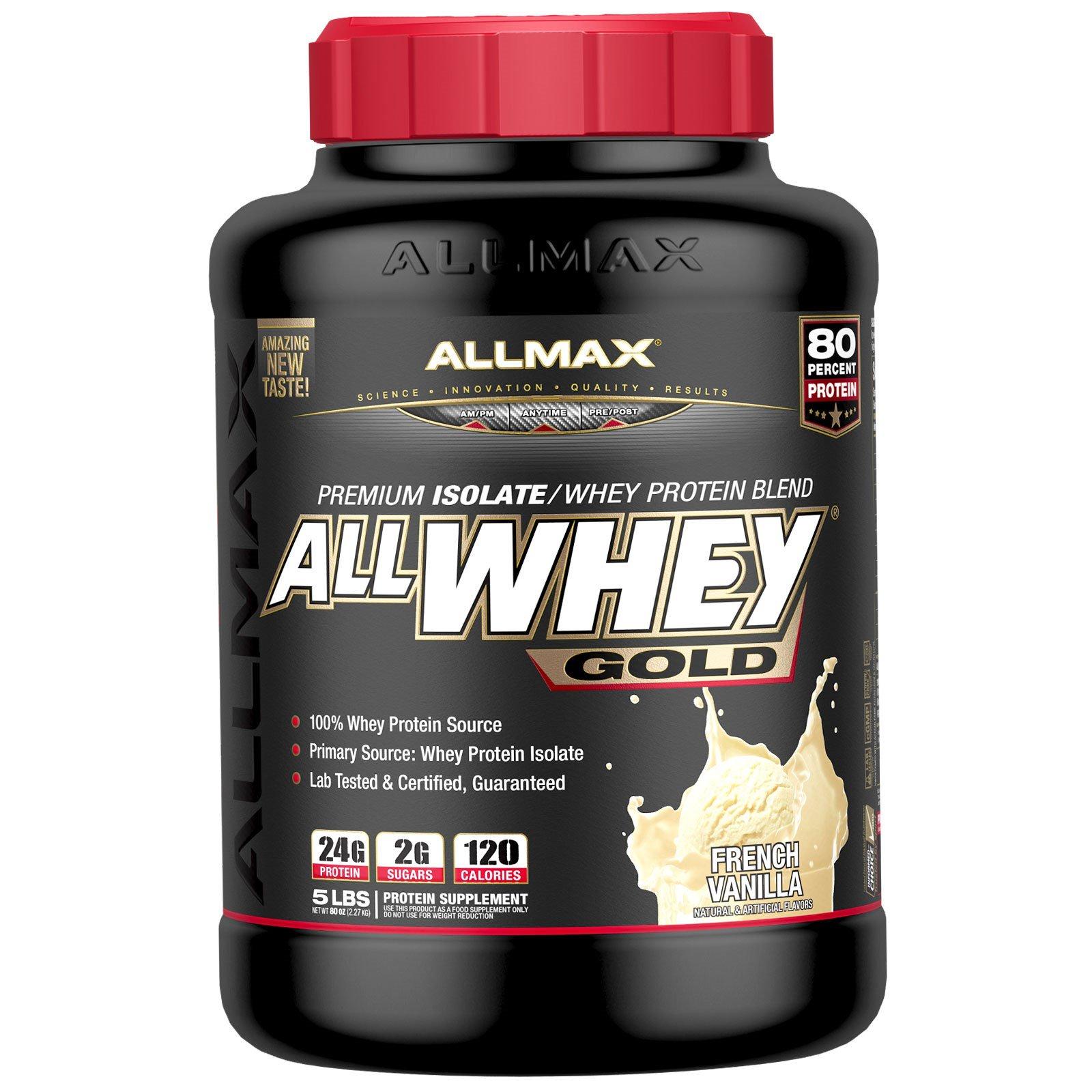ALLMAX Nutrition, AllWhey Gold, 100% сывороточный протеин + Premium изолят сывороточного протеина, французская ваниль, 5 ф. (2,27 кг)