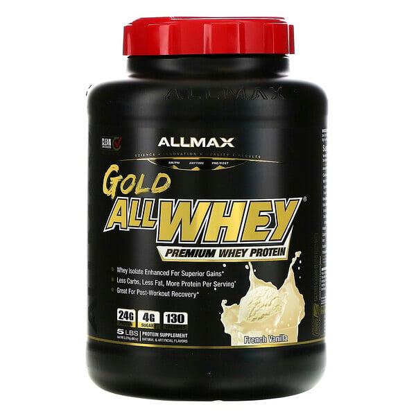 AllWhey Gold, 100% Whey Protein + Premium Whey Protein Isolate, French Vanilla, 5 lbs. (2.27 kg)