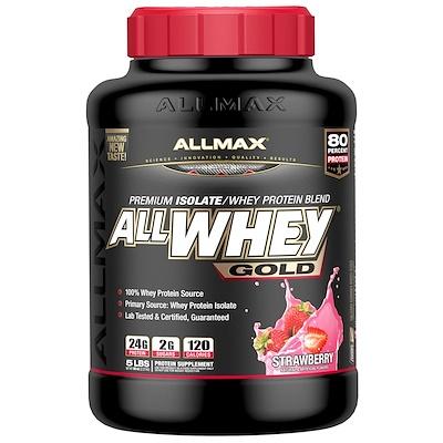 AllWhey Gold, 100% сывороточный протеин + Premium изолят сывороточного протеина, клубника, 5 ф. (2,27 кг)