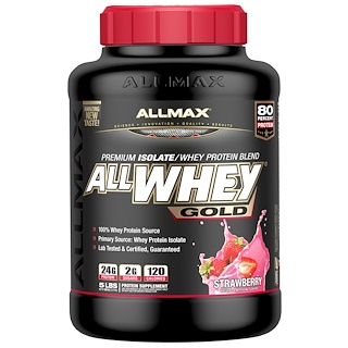 ALLMAX Nutrition, オールホエイ・ゴールド、100%ホエイプロテイン + プレミアム・ホエイプロテインアイソレート、ストロベリー、5ポンド (2.27 kg)