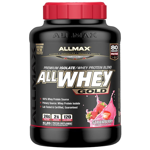 natural whey protein : ALLMAX Nutrition, AllWhey Gold, 100% Whey Protein + Premium Whey Protein Isolate, Strawberry, 5 lbs. (2.27 kg)
