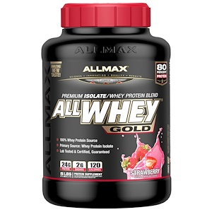 ALLMAX Nutrition, AllWhey Gold, 100% сывороточный протеин + Premium изолят сывороточного протеина, клубника, 5 ф. (2,27 кг)