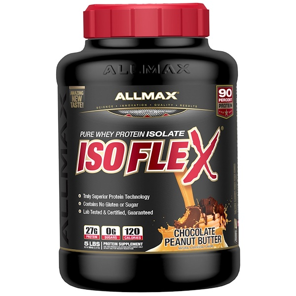 ALLMAX Nutrition, Isoflex, Pure Whey Protein Isolate (WPI Ion-Charged Particle Filtration), Chocolate Peanut Butter, 5 lbs (2.27 kg)
