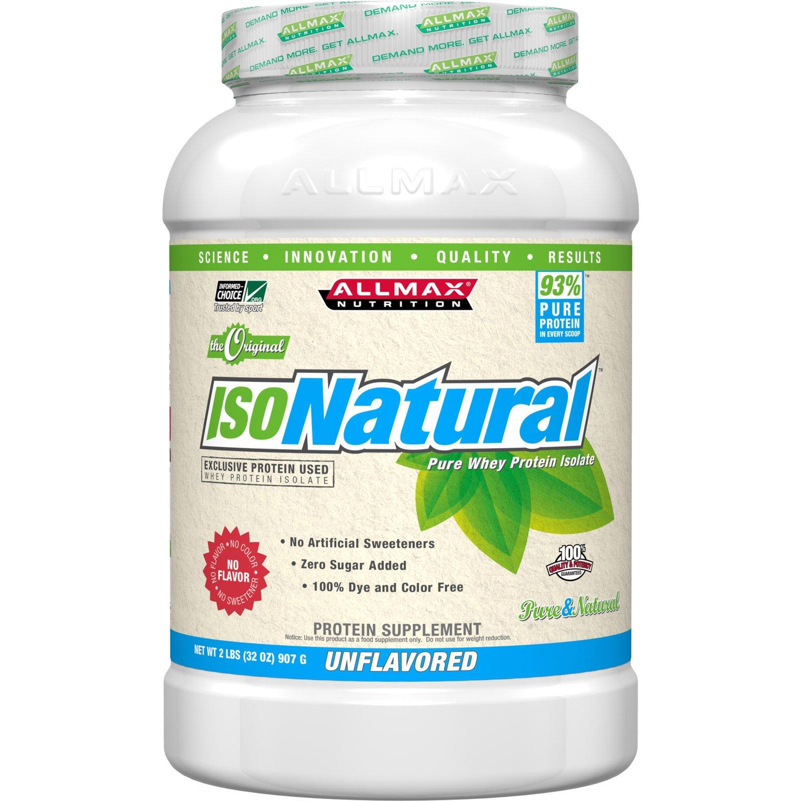 ALLMAX Nutrition, IsoNatural, 100% сверх-чистый натуральный изолят сывороточного белка (WPI90), оригинальный, неароматизированный, 907 г (2 lbs)