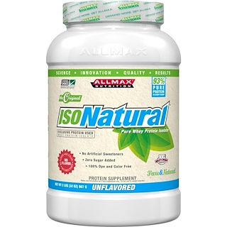 ALLMAX Nutrition, IsoNatural, 100% Ultra-Pure Natural Whey Protein Isolate (WPI90), The Original, Unflavored, 2 lbs (907 g)