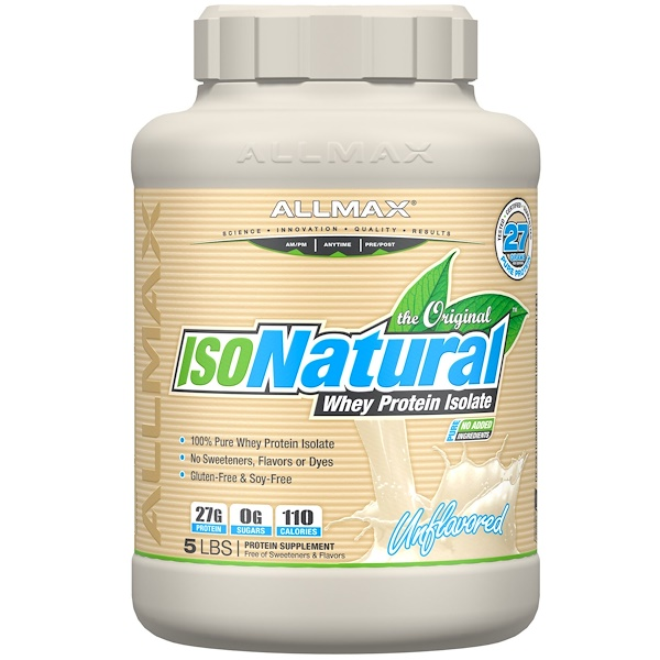 ALLMAX Nutrition, IsoNatural, 100% Ultra-Pure Natural Whey Protein Isolate, Unflavored, 5 lbs (2、25 kg)
